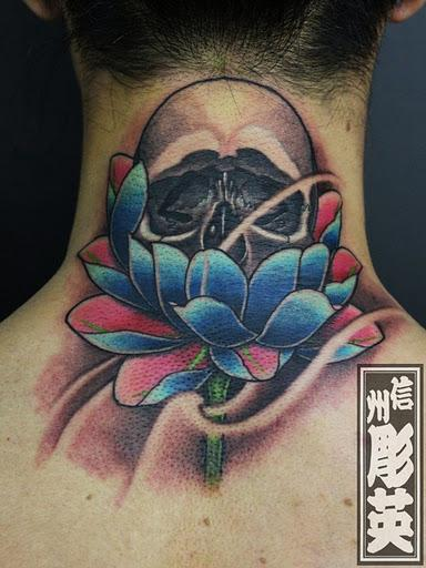 tattoos/ - Custom Skull and Lotus Flower Tattoo - 60544