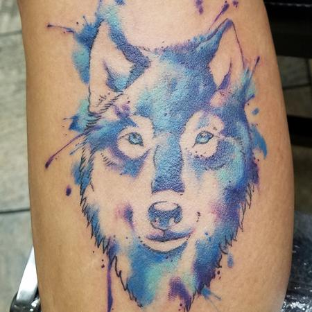 tattoos/ - Blue Watercolor Wolf - 141379