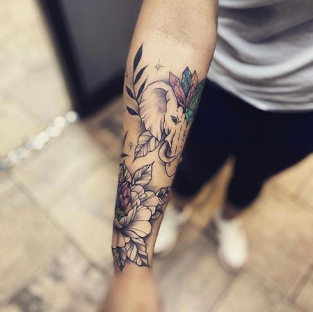 tattoos/ - Flowers and Elephant - 141385