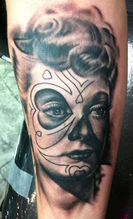 tattoos/ - Black and Gray Lucille Ball - 68275