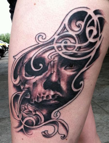 tattoos/ - Custom skull girl filigree - 68273