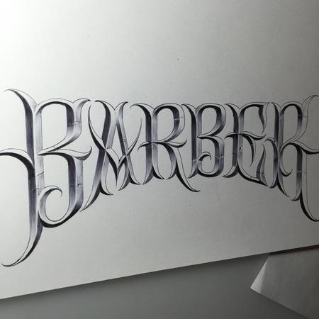 Art Galleries - Barber Ball Point Pen Lettering Illustration - 123817