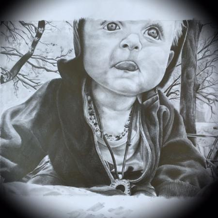Art Galleries - Black and Gray Portrait of my son Otto lee  - 122980