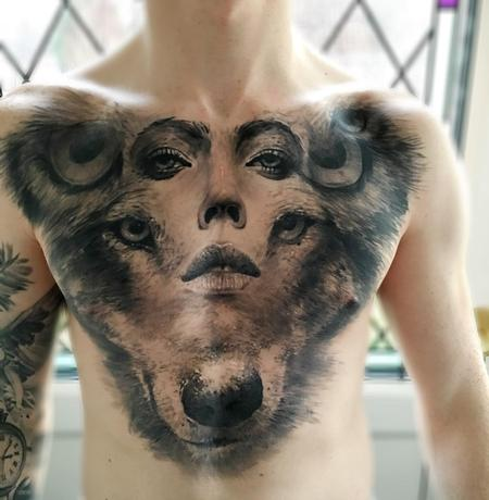 tattoos/ - Owl, Woman, Wolf Composite Chest Tattoo - 115844