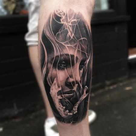 tattoos/ - Smoke, Jaw, Woman Forearm Tattoo - 115845