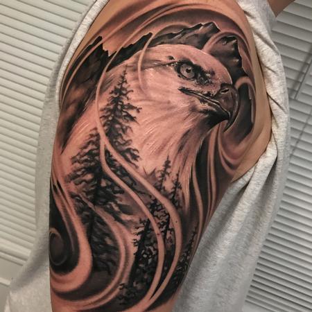 tattoos/ - Eagle landscape tattoo - 131277