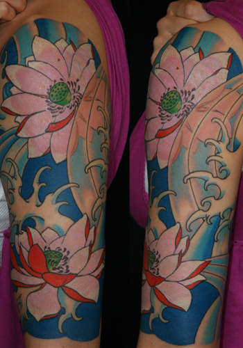 tattoos/ - lotus half sleeve / water motif - 29967