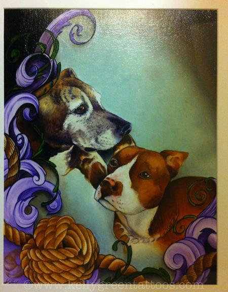 Art Galleries - Pitbull pups painting - 99657