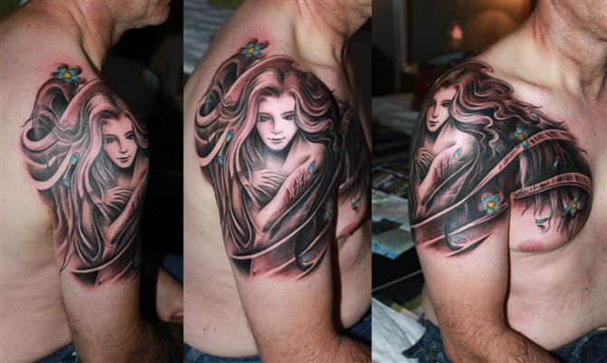 tattoos/ - Flowing Girl Tattoo - 49575