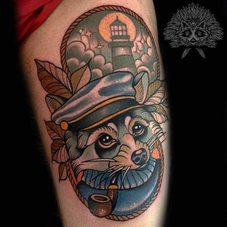 tattoos/ - Neo Traditional Nautical Racoon Tattoo - 130973