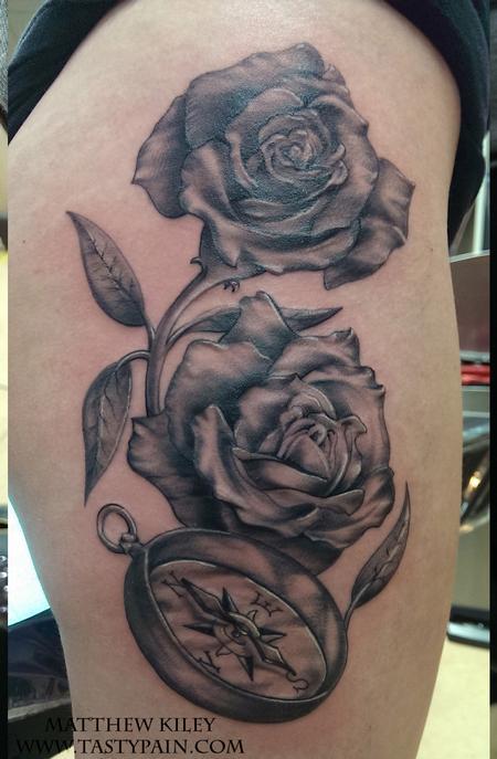 tattoos/ - rose compass - 92186