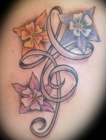 tattoos/ - Flower and Ribbon Tattoo - 67638