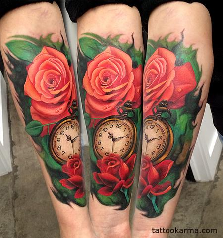 tattoos/ - roses pocketwatch - 104632