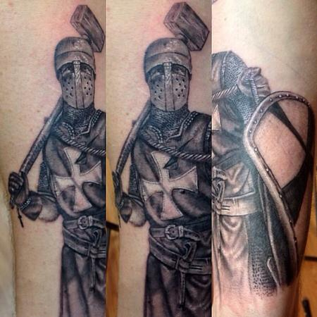 tattoos/ - Black and grey knight done portrait done by cesar perez from Keene ,NH - 78655