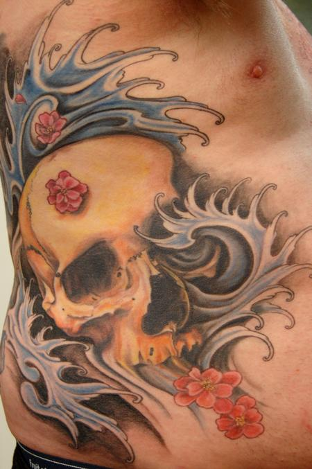 tattoos/ - Skull with water & cherry blossoms - 64145