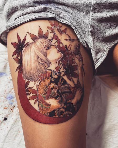 tattoos/ - Korean girl with pig mask - 142973