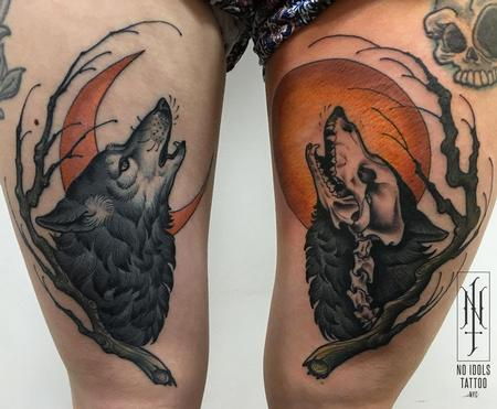 tattoos/ - Howling wolf and moon tattoo - 141021