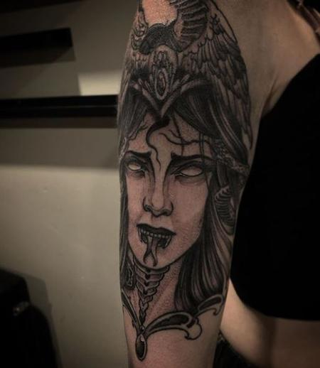 tattoos/ - Billy Williams Black and Grey Neo Lady  - 140882