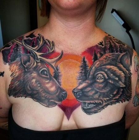tattoos/ - Cody Cook Deer and Bear Chest Piece - 141384
