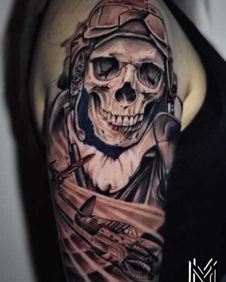 tattoos/ - Matt Morrison Skeleton Bomber Pilot - 142715