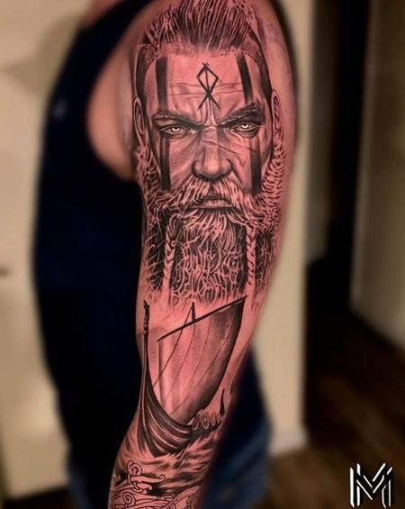 tattoos/ - Matt Morrison Viking Portrait and Ship Sleeve - 141702