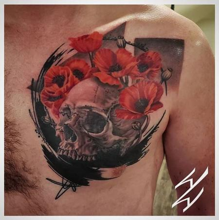 tattoos/ - Walt Watts Abstract Skull and Flowers - 141062