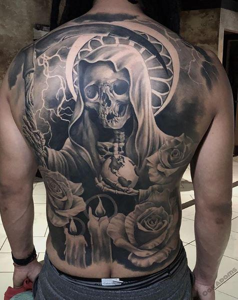 Painted Temple : Tattoos : Oak Adams : Black and Gray Santa