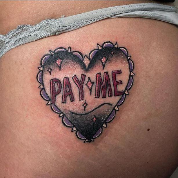 Painted Temple : Tattoos : Color : Pay Me Heart Butt Tattoo