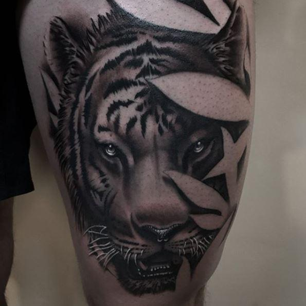 d905c2720a8f4 Painted Temple : Tattoos : Zane Collins : Black and Gray Tiger Tattoo