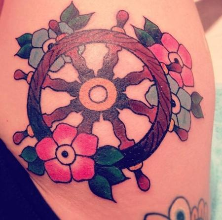 tattoos/ - Spoked Wheel and flowers. - 70728
