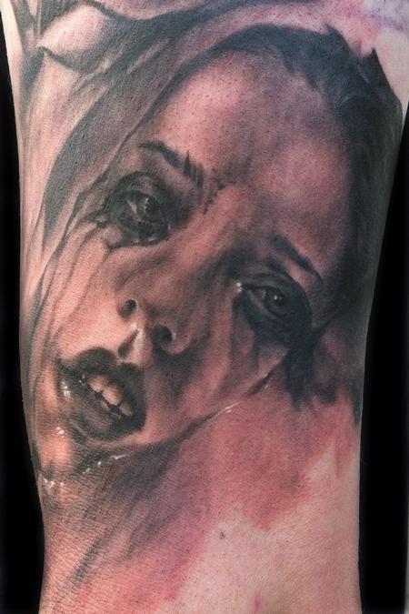 tattoos/ - Black and Grey Girl Tattoo - 68077