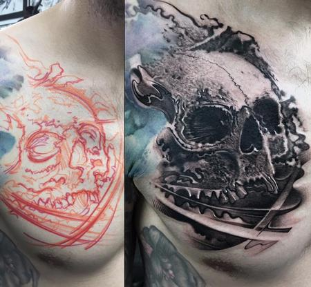tattoos/ - Skull Chest Tattoo - 140406