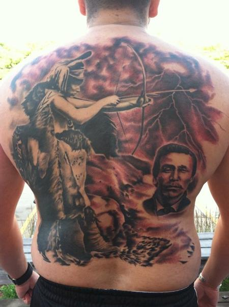 tattoos/ - Black and Grey Indian Backpiece Tattoo - 66304