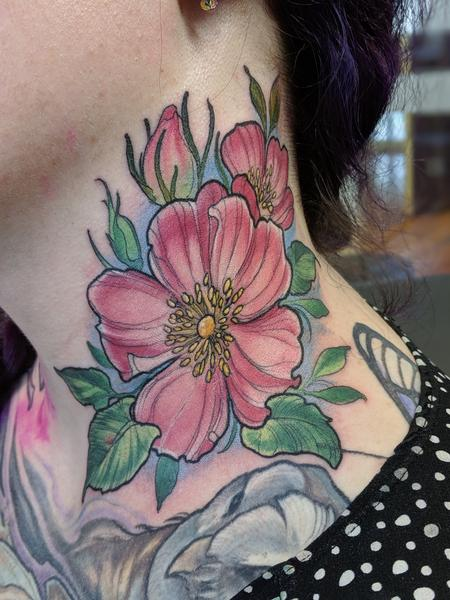tattoos/ - Color neck flower tattoo - 140267