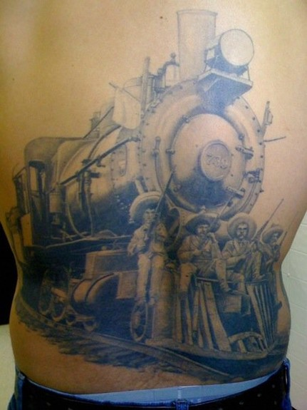 tattoos/ - Black and Gray Steam Engine Tattoo - 52349