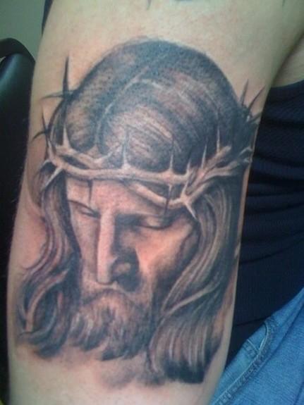 tattoos/ - Black and Gray Jesus Tattoo - 52351