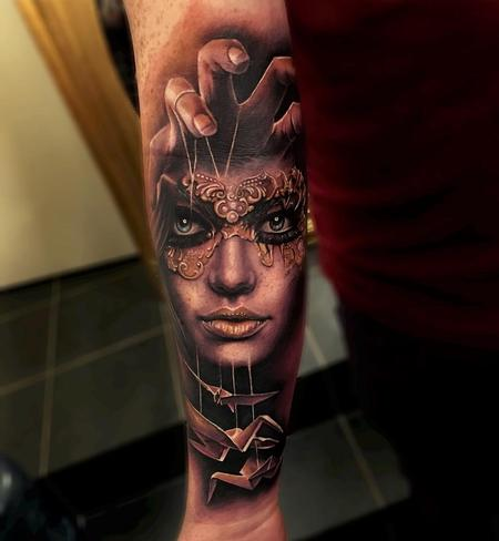 tattoos/ - Masked Woman, Crane Puppets Forearm Tattoo - 115848