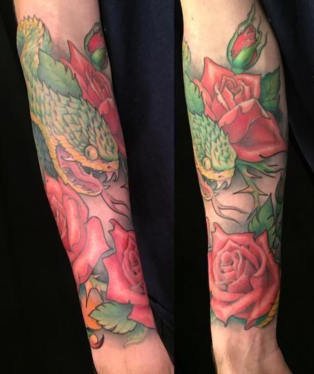 tattoos/ - Color Snake and Roses Tattoo - 141500
