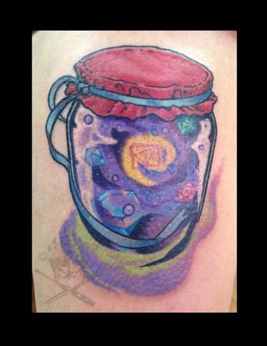 tattoos/ - Galaxy in a Jar Leg Tattoo - 68997