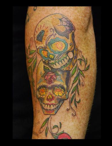 tattoos/ - Sugar Skulls with Foliage Arm Tattoo - 68996