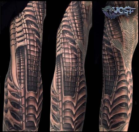 tattoos/ - Black and Grey Giger inspired tattoo sleeve  - 140657