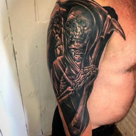 tattoos/ - Grim Reaper Half Sleeve Tattoo - 140969
