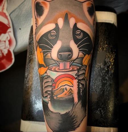 tattoos/ - Coffee sipping Panda tattoo - 140926