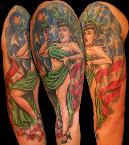 tattoos/ - betty page pinup half sleeve - 64536