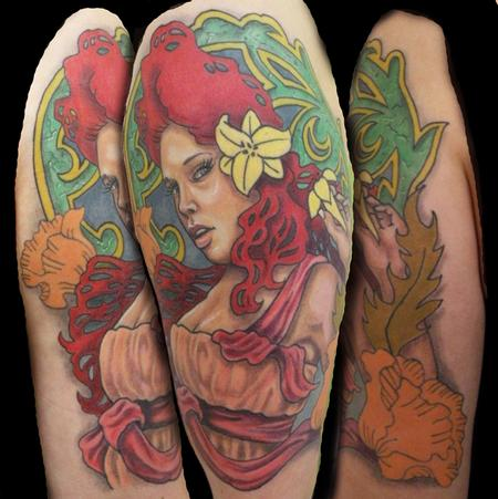 tattoos/ - tribute too art nouveau, on my lovely girlfriend - 64534