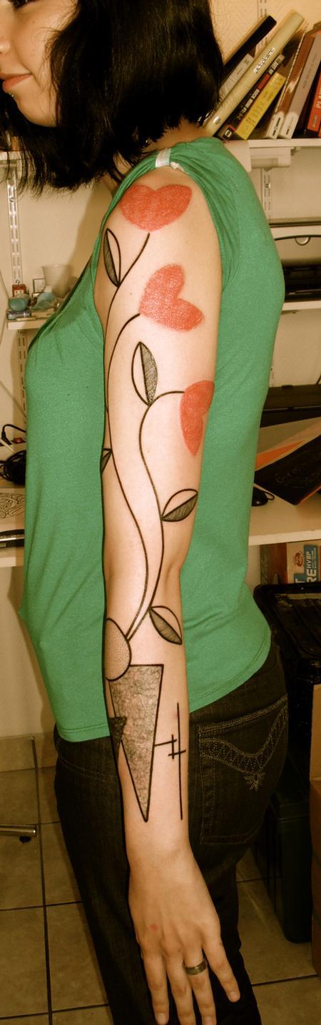 tattoos/ - Heart Flowers Tattoo - 55009