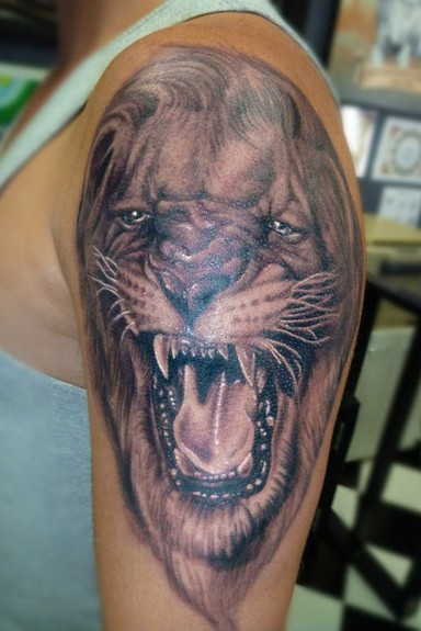 tattoos/ - Black and Gray Lion Tattoo - 52481