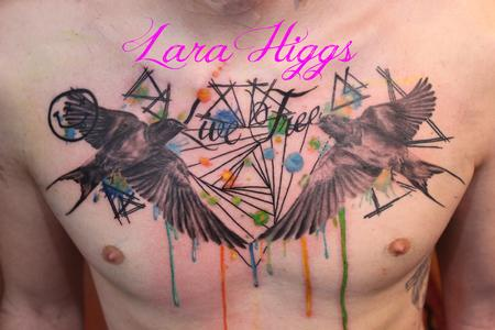 tattoos/ - Abstract water colour swallows - 108754