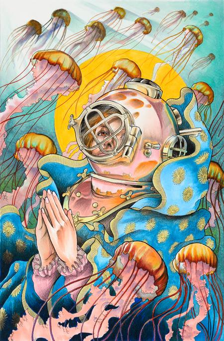 Art Galleries - Scuba Diver with Jellyfish - 109325