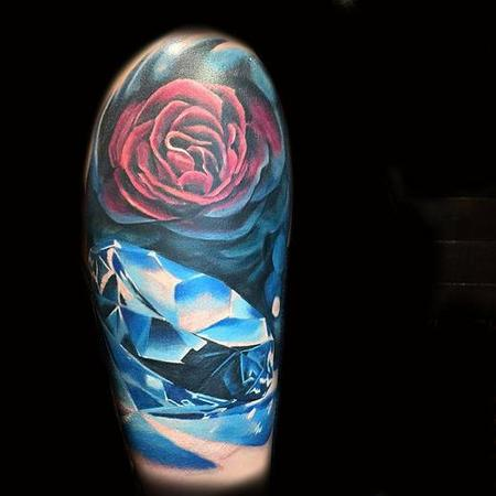 tattoos/ - rose and diamond blue - 114568